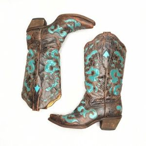 Corral Vintage Leather Turquoise Inlay Embroidered